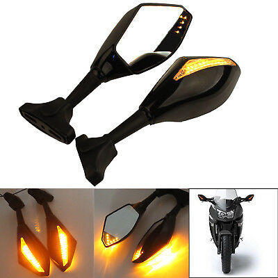 Motorcycle Cool LED Turn Signals Rearview Sport Bike Mirrors For HONDA/ SUZUKI