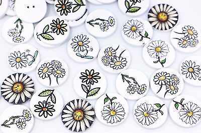 Floral Wooden Sewing Button 20mm 50pcs