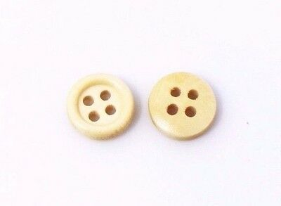 Small Beige Wood Sewing Button 10mm 50pcs