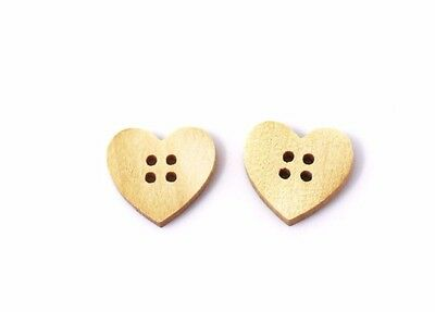 Heart-shaped Wood Sewing Buttons 15mm 50pcs
