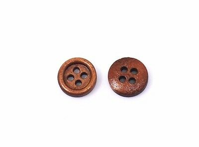 Small Brown Wooden Buttons 10mm 50pcs