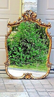 "ANTIQUE ITALIAN WOOD CARVED GILT ORNATE  FRAME MIRROR 27"" x33"""