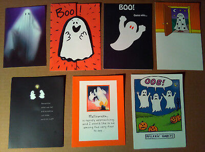 Vintage Halloween Greeting Cards Lot ~GHOSTS ~1990s ~Scary Ghost