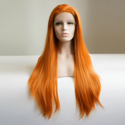24Inches Orange Long Wavy Heat Resistant Synthetic Hair Lace Front Wig + Wig Cap