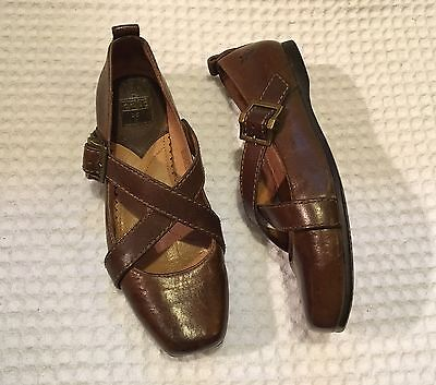 1fa38cb1a51 FRYE Megan Criss Cross Mary Janes Leather Flats  198 Brown 6.5
