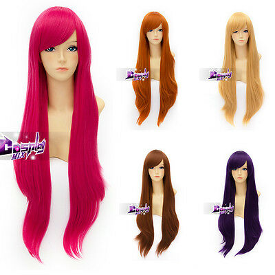 80cm Basic Cosplay Long Heat Resistant Wavy Wig Anime Party Hair + Free  Cap