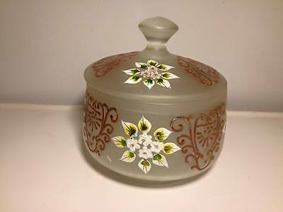 Czechoslovakian hand painted satin glass covered candy dish