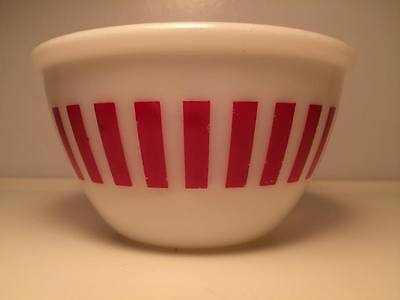 Hazel Atlas Red Candy Stripe Mixing Bowl made in USA