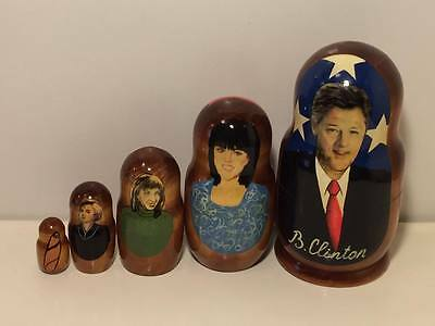 President Clinton  and his ladies wooden stacking dolls set of 5
