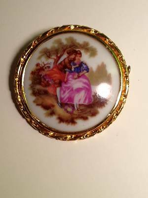 Limoges victorian courting couple brooch made in France gold toned frame