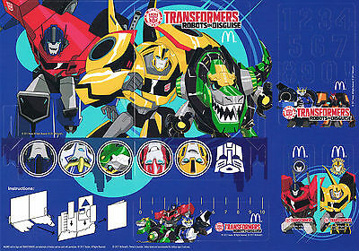 McDonald's Australia TRANSFORMERS Robots In Disguise 2017 Pop-out Play Card