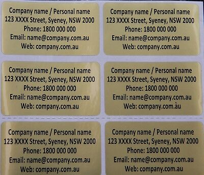 Gold Personalised Name Stickers Vinyl Tag / Label, 4.5 X 2.5 CM Water Proof