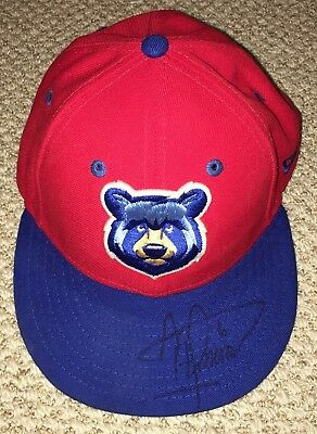 Albert Almora Game Used Signed Tennessee Smokies Hat Season Worn Cap Cubs Star