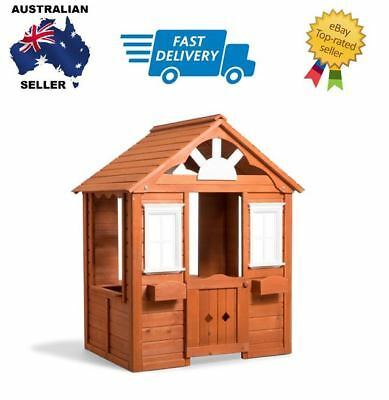 NEW! outdoor fun wooden cubby play house with door, window and flower box
