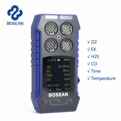 4-IN-1 Compact Toxic Harmful Gas Monitor Detector Alarm CO Ex O2 H2S Analyzer