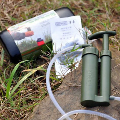 New Portable Outdoor Water Filter Purify Pump Outdoor Survival Hiking Camping XD