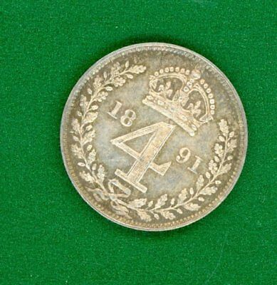 Maundy   Silver  4d   Dated  1891   V.F.    (C017)