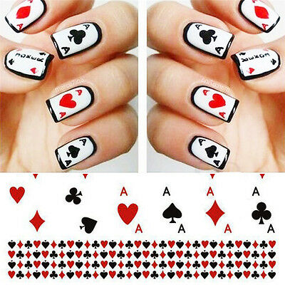 Nail Water Decals Nail Art Transfer Nail Stickers Accessory Playing Card Design
