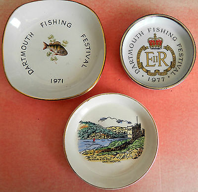Dartmouth Fishing Festival Plates 1971 and 1977 PLUS free Dartmouth Castle Plate