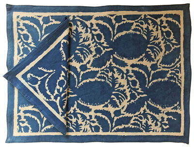 Anokhi placemat & napkin set - Pineapple Indigo - easy care cotton -