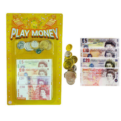 Childrens Kids Pretend Toy Fake Money Notes Coins Role Play Packs of 1, 2, 4, 6