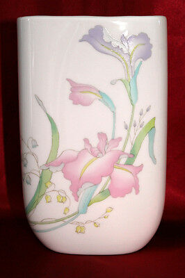 Retro Toyo Ceramic Vase Misty Purple & Pink Orchid Theme & Oval Shape MIJ