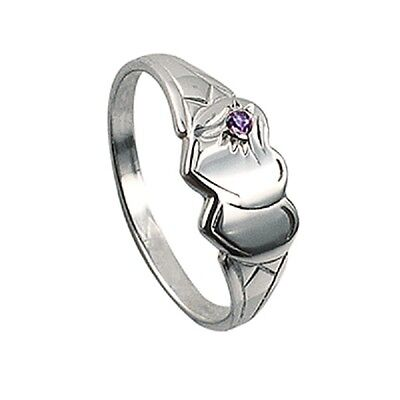 Girls/ladies Double Heart 925 Sterling Silver Signet Ring With Amethyst Stone