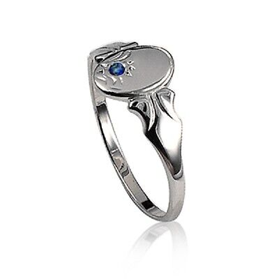 Ladies/teens/childrens Sterling Silver Oval Shaped Signet Ring With Blue Spinel