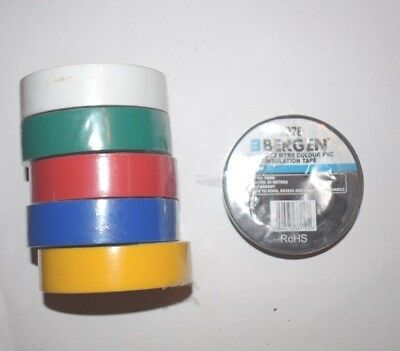 Bergen Mixed Colours 19MM X 20 Meters PVC Insulation Tape - 6 pack 2978