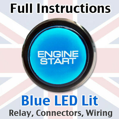 Blue/Black Engine Start Starter Push Button Power Switch - Full kit with loom!