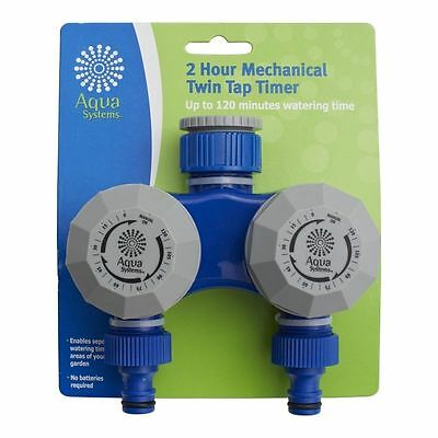 2 Hour Mechanical TWIN Tap Timer Dual Hose Water AQUA SYSTEM Brand New
