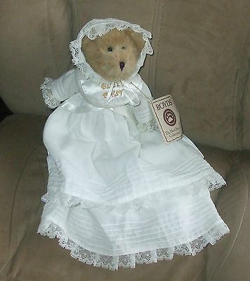 plush stuffed toy ,BOYDS BEAR, Christing dress gown, Bless baby , tags attached