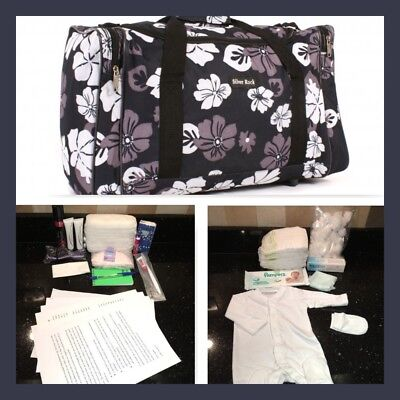 Pre-packed budget maternity/hospital/labour bag in black and grey flower print