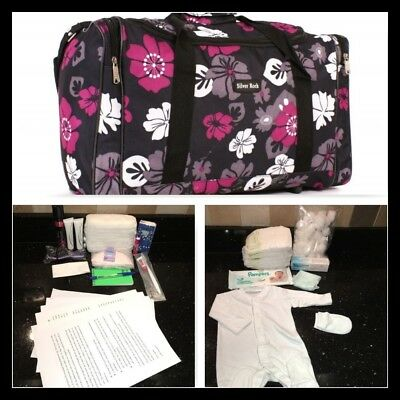 Pre-packed budget maternity/hospital/labour bag in black and pink flower print