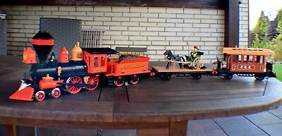 Playmobil 4034; Steaming Mary+Flachwagen mit Kutsche+Western-Person.Waggon 4120