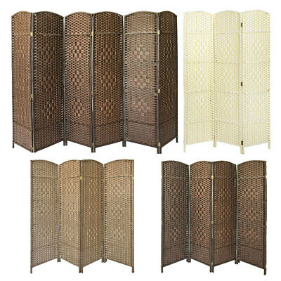 Hand Made Weave Wicker Folding Room Divider Privacy Screen Separator 3 4 6 Panel