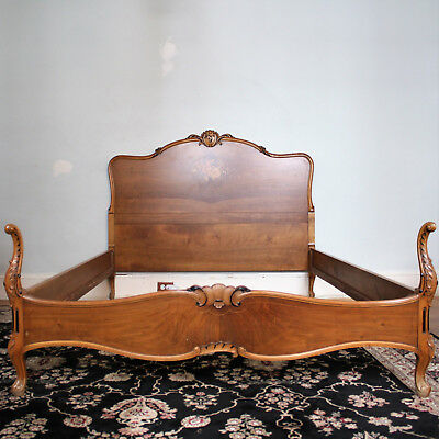Louis XV Style Full Bed Floral Inlay Headboard Footboard Side Rails Antique Vtg