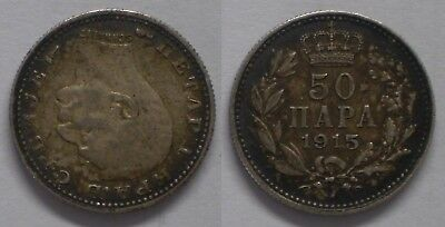 Serbia 50 Para 1915 With designer name Coin die alignment KM#24.3 Silver (Ю30aa)