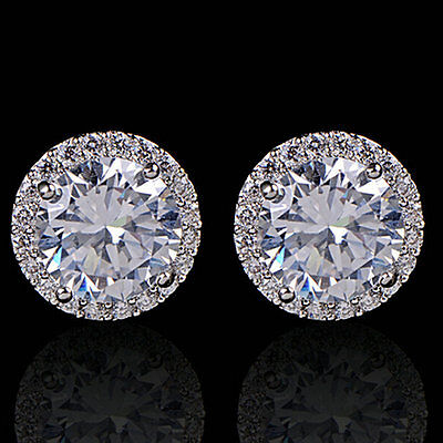 Hot Sale 18K White Gold Plated Crystal Zircon Inlaid Ear Stud Earrings Jewelry