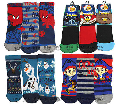 NEW Kids Boys Socks,Spiderman,Frozen Olaf,Angry Bird,Captain Jake,Christmas Gift
