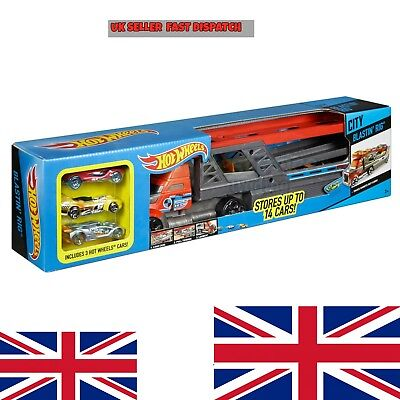Hot Wheels City Blastin' Rig with 3 Cars Powered Launcher Vehicles Racing Car