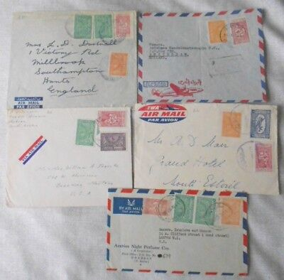 Saudi Arabia - 5 covers 1940s to 1950s - airmail & various stamps