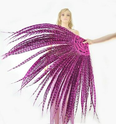 hot pink tall huge Pheasant Feather Fan professional Burlesque perform
