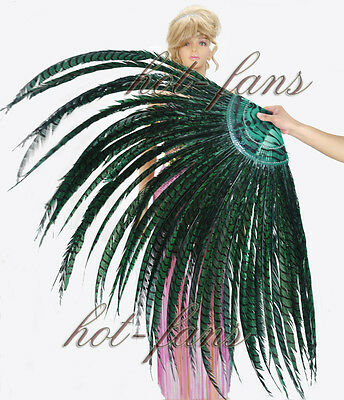 Forest green tall huge Pheasant Feather Fan professional Burlesque perform