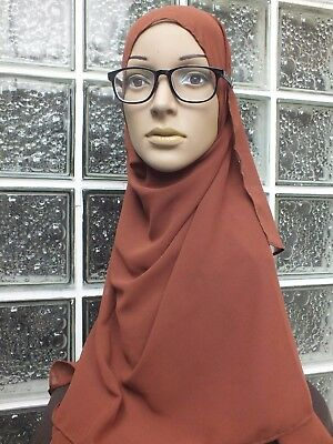 EP34 Hijab shawl chiffon plain scarf BROWN oblong tudung abaya Fashion