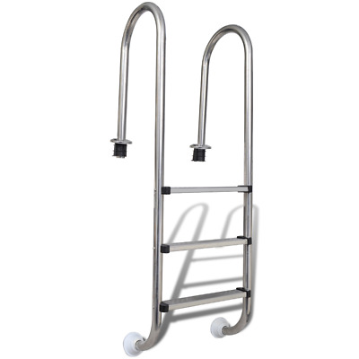 Above Ground Swimming Pool Non Skid 3 Steps Stainless Steel Climb Assist Ladder