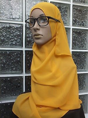 EP35 Hijab shawl chiffon plain scarf YELLOW  oblong tudung abaya Fashion