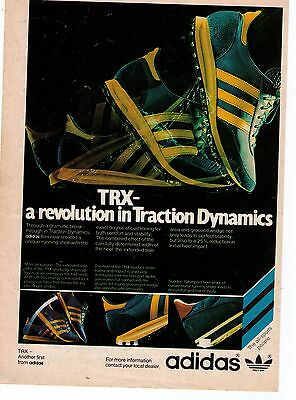 """1976 Classic Adidas """"TRX"""" A Revolution In Traction Dynamics Print Advertisement"""