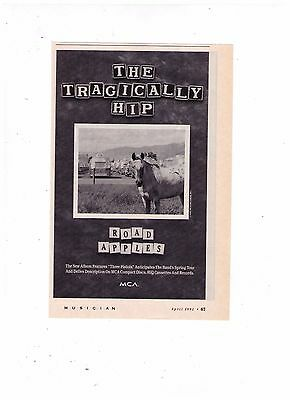 "1991 The Tragically Hip ""Road Apples"" Vintage Album Print Advertisement"