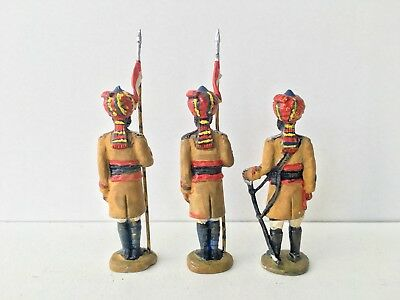 Solid Cast Uknown Make - 3 X Painted Indian Guards / Soldiers - Please See Below
